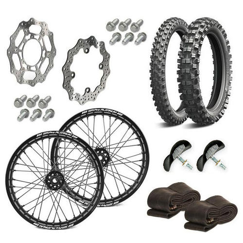 A WHEEL SET PACKAGE - SM PRO PLATINUM / TUBES / TYRES / RIMLOCKS / RIMTAPES / DISCS