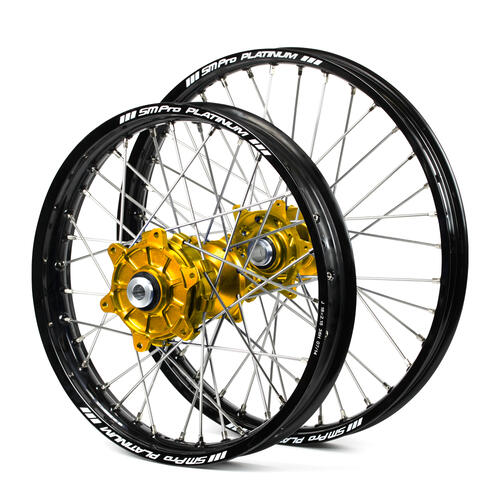 SUZUKI DRZ400E 2000 - 2019 CUSH DRIVE WHEEL SET BLACK PLATINUM RIMS / GOLD SM PRO HUBS 21 / 18x2.15