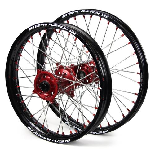 HONDA CR250 2002 - 2007 SM PRO WHEEL SET 21/19 BLACK RIM - RED HUB - RED NIPPLES