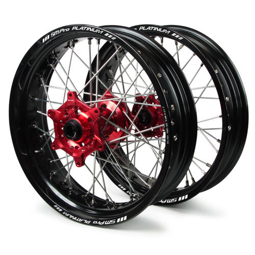 HONDA CR 125 2002 - 2010 SM PRO SUPERMOTARD WHEEL SET 3.50x17 4.25x17 BLACK RIM / RED HUB