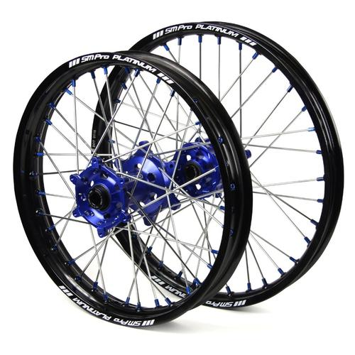 HUSQVARNA FE350 2014 - 2019 SM PRO WHEEL SET 21/18 BLACK RIM - BLUE HUB - BLUE NIPPLES