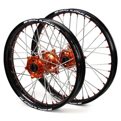 KTM 350 SX-F 2010 - 2019 SM PRO WHEEL SET 21/18 BLACK RIM - ORANGE HUB - ORANGE NIPPLES