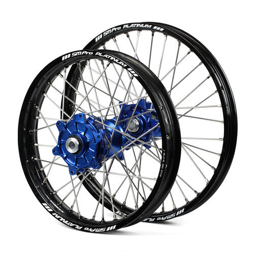 KTM 350 XC-F 2015 - 2019 CUSH DRIVE WHEEL SET BLACK PLATINUM RIMS / BLUE SM PRO HUBS 21X1.60 / 18X2.15