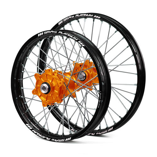 KTM 250 SX 2003 - 2019 CUSH DRIVE WHEEL SET BLACK PLATINUM RIMS / ORANGE SM PRO HUBS 21X1.60 / 18X2.15
