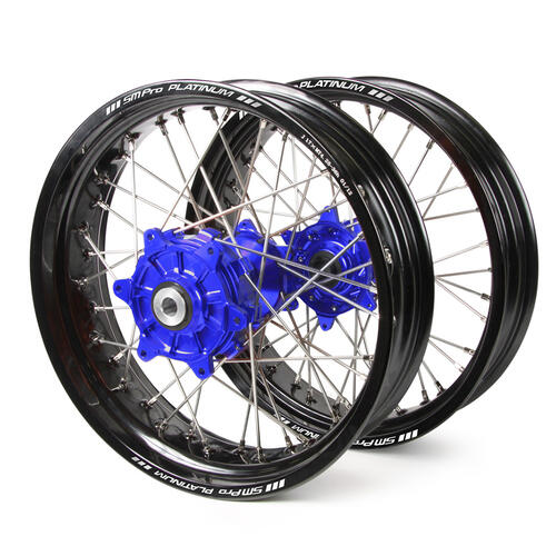 HUSQVARNA FE350 2014 - 2019 SM PRO SUPERMOTARD CUSH DRIVE WHEEL SET BLACK RIMS / BLUE HUBS 17x3.50 / 17x4.25