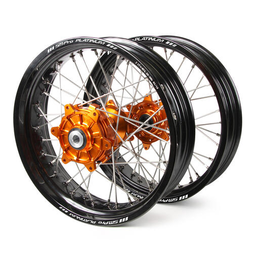 KTM 125 EXC 2003 - 2019 SM PRO SUPERMOTARD CUSH DRIVE WHEEL SET BLACK RIMS / ORANGE HUBS 17x3.50 / 17x4.25