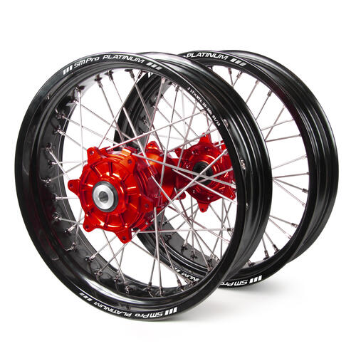 HONDA CRF250X 2004 - 2019 SM PRO SUPERMOTARD CUSH DRIVE WHEEL SET BLACK RIMS / RED HUBS 17x3.50 / 17x4.25