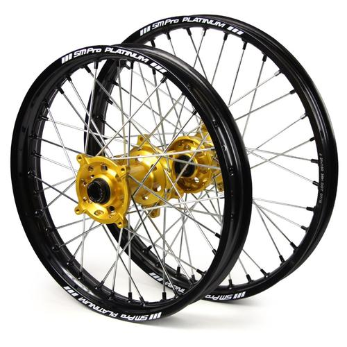 SUZUKI RMZ250 2007 - 2019 SM PRO WHEEL SET 21/19 BLACK RIM - GOLD HUB - BLACK NIPPLES