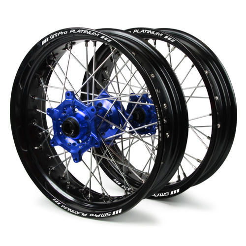 YAMAHA WR250R 2008 - 2017 SM PRO SUPERMOTARD WHEEL SET 17x3.50 17x4.25 BLACK RIM / BLUE HUB