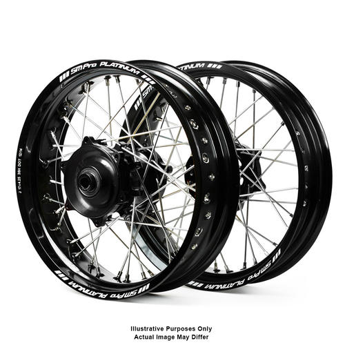 SUZUKI DR650 1996 - 2019 ADVENTURE WHEEL SET SM PRO BLACK RIMS / BLACK HUBS 21x1.85 / 17x2.50 OEM SIZE