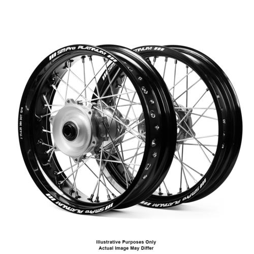 SUZUKI DR650 1996 - 2019 ADVENTURE WHEEL SET SM PRO BLACK RIMS / SILVER HUBS 17x3.50 / 17x4.25