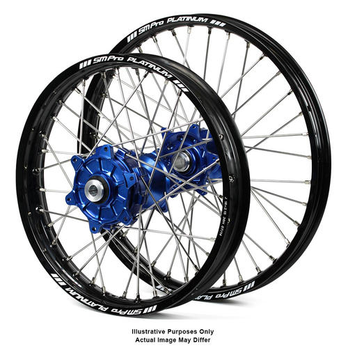 BMW F800 GS   2006 - 2018 ADVENTURE WHEEL SET BLACK PLATINUM RIMS / BLUE SM PRO HUBS 21*1.85 / 17*4.25