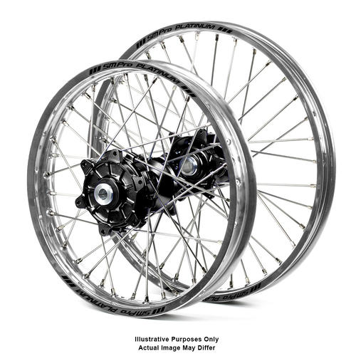BMW F800 GS 2006 - 2018 ADVENTURE WHEEL SET SILVER PLATINUM RIMS / BLACK SM PRO HUBS 21x1.85 / 17x4.25