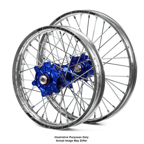 BMW F800 GS 2006 - 2018 ADVENTURE WHEEL SET SILVER PLATINUM RIMS / BLUE SM PRO HUBS 17x3.50 / 17x4.25
