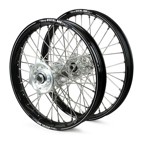 SUZUKI DRZ400E 2000 - 2019 WHEEL SET BLACK EXCEL A60 SNR MX RIMS / SILVER TALON HUBS 21 / 18x2.15