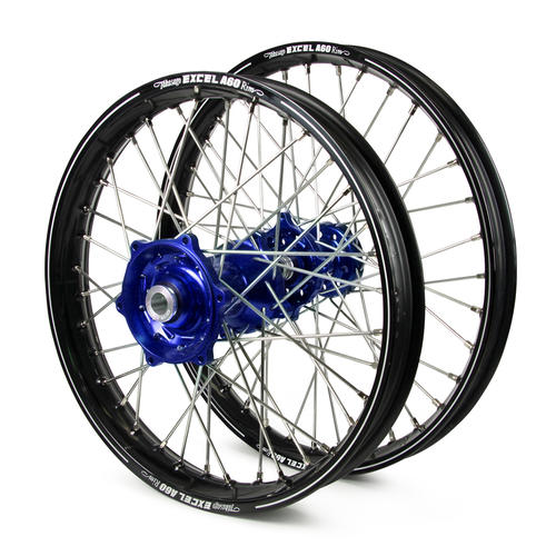 HUSABERG TE250 2003 - 2014 WHEEL SET BLACK EXCEL A60 SNR MX RIMS / BLUE TALON HUBS 21 / 18x2.15