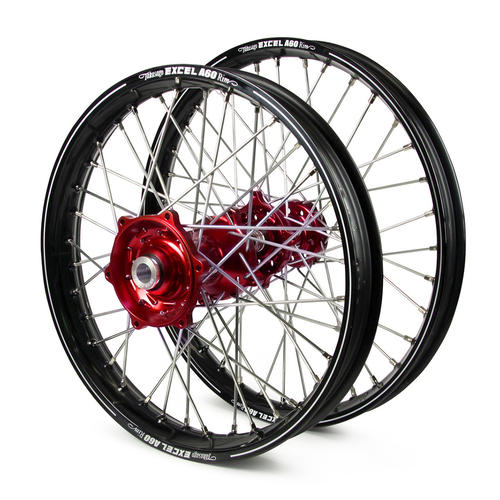 GAS GAS EC250 2000 - 2019 WHEEL SET BLACK EXCEL A60 SNR MX RIMS / RED TALON HUBS 21 / 18x2.15