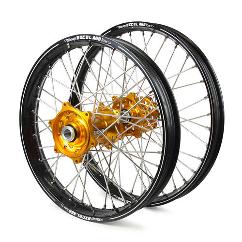 HUSQVARNA FX350 2016 - 2019 WHEEL SET BLACK EXCEL A60 SNR MX RIMS GOLD TALON HUBS 21/19x2.15