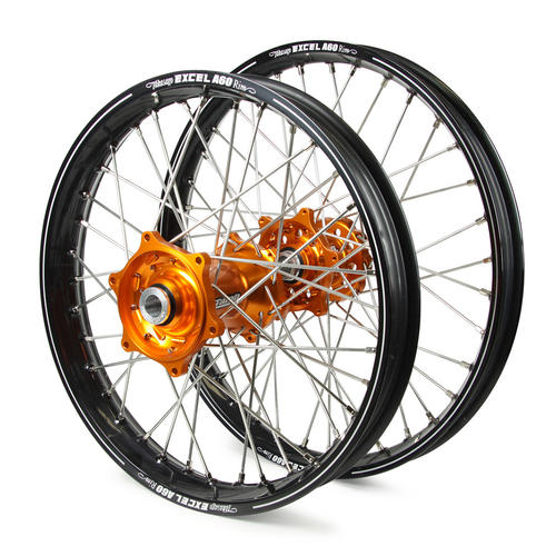 KTM 300 XC 2015 - 2019 WHEEL SET BLACK EXCEL A60 SNR MX RIMS / ORANGE TALON HUBS 21 / 19x2.15