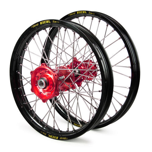 SUZUKI RM85 2002 - 2019 WHEEL SET BLACK EXCEL JNR MX RIMS RED TALON HUBS 17x1.4/14x1.6