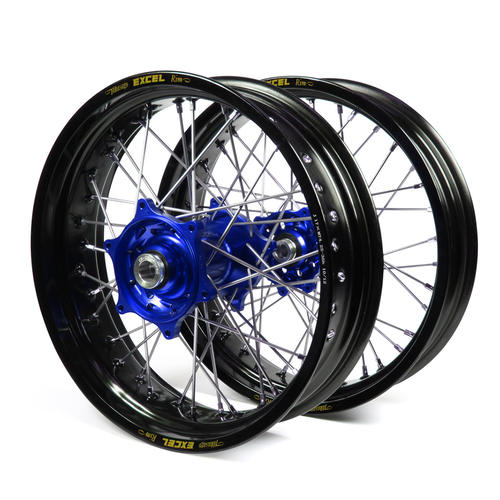 YAMAHA YZ250 1998 - 2001 SUPERMOTARD WHEEL SET BLACK EXCEL RIMS BLUE TALON HUBS 17x3.50/17x4.25