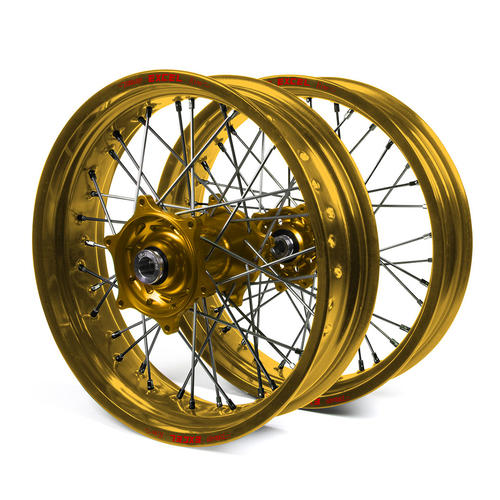 "SUZUKI DRZ400E 2000 - 2019 WHEEL SET GOLD EXCEL SUPERMOTO ""NON CUSH"" RIMS / GOLD TALON HUBS 17x3.50 / 17x4.25"