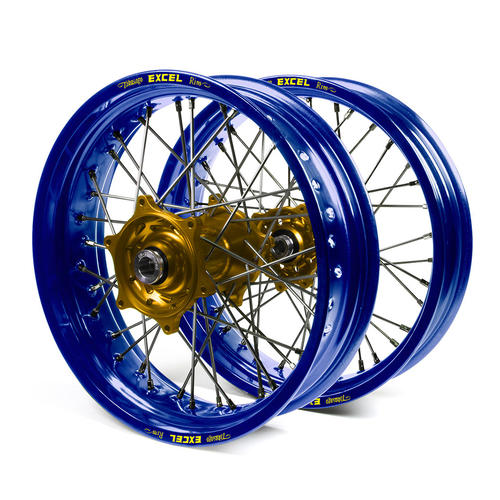 HUSABERG FE250 2003 - 2014 SUPERMOTARD WHEEL SET BLUE EXCEL RIMS GOLD TALON HUBS 17x3.50/17x4.25