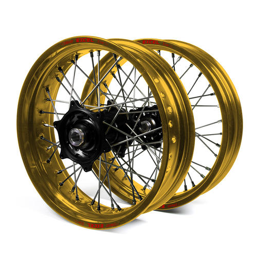HUSQVARNA TC125 2014 SUPERMOTARD WHEEL SET GOLD EXCEL RIMS BLACK TALON HUBS 17x3.50/17x4.25