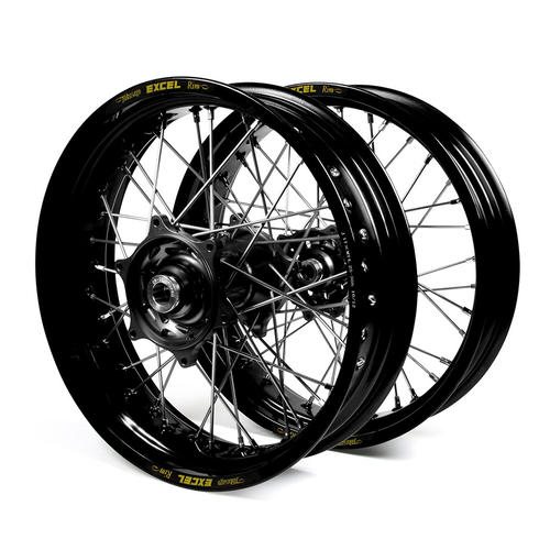 HUSQVARNA TE450 2014 - 2015 SUPERMOTARD WHEEL SET BLACK EXCEL RIMS BLACK TALON HUBS 17x3.50/17x4.25