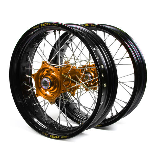 KTM 250 EXC-F 2003 - 2015 SUPERMOTARD WHEEL SET BLACK EXCEL RIMS ORANGE TALON HUBS 17x3.50/17x4.25