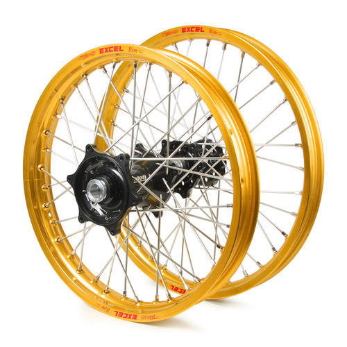 GAS GAS EC450 2000 - 2013 WHEEL SET GOLD / EXCEL SNR MX RIMS TALON BLACK GAS HUBS 21 / 18x2.15