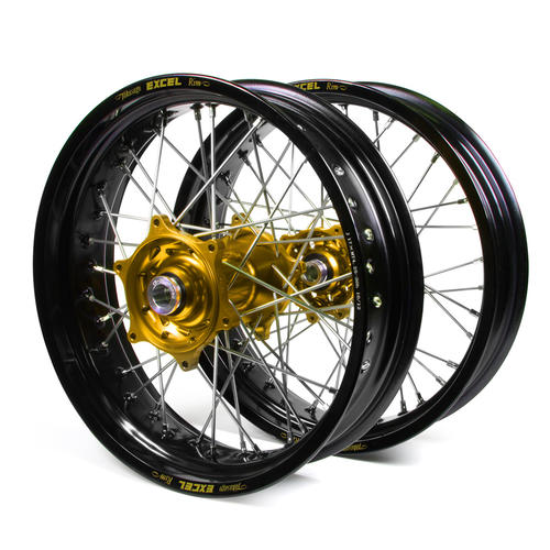 KAWASAKI KLX450 2007 - 2018 SUPERMOTARD WHEEL SET BLACK EXCEL RIMS / GOLD TALON HUBS 17x3.50 / 17x4.25