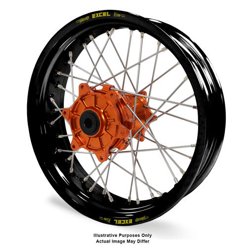 KTM 1190 2013 - 2016 ADVENTURE REAR WHEEL BLACK EXCEL RIMS / ORANGE TALON HUBS 17x4.50