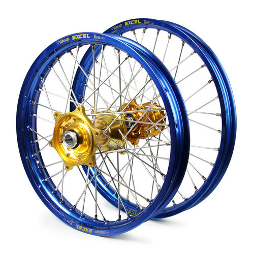 KTM 125 SX 2015 - 2019 WHEEL SET BLUE EXCEL SNR MX RIMS / GOLD TALON HUBS 21 / 19x2.15