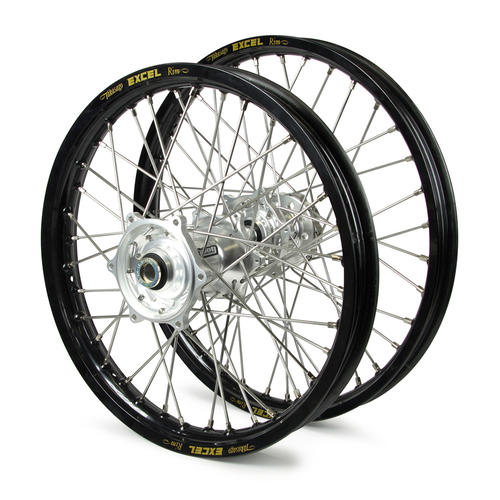 HUSQVARNA FC450 2016 - 2019 WHEEL SET BLACK EXCEL SNR MX RIMS / SILVER TALON HUBS 21 / 19x2.15