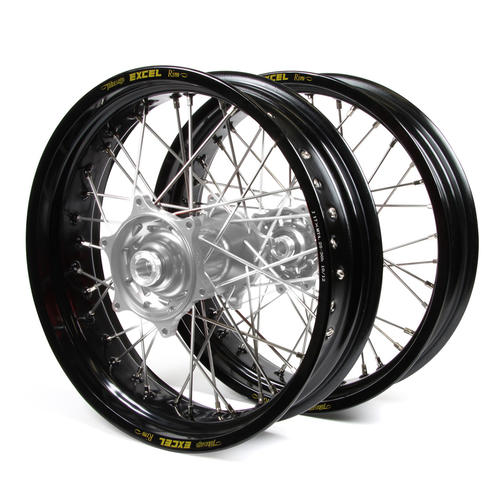HUSQVARNA TX300 2016 - 2019 SUPERMOTARD WHEEL SET BLACK EXCEL RIMS / SILVER TALON HUBS 17x3.50 / 17x4.25