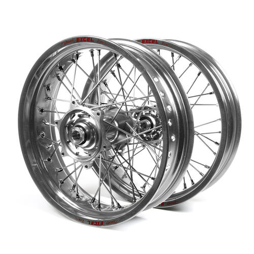 KTM 125 SX 2015 - 2019 SUPERMOTARD WHEEL SET SILVER EXCEL RIMS / SILVER TALON HUBS 17x3.50 / 17x4.25