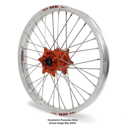 KTM 1190 2013 - 2016 ADVENTURE FRONT WHEEL SILVER EXCEL RIMS ORANGE TALON HUBS 19x2.5
