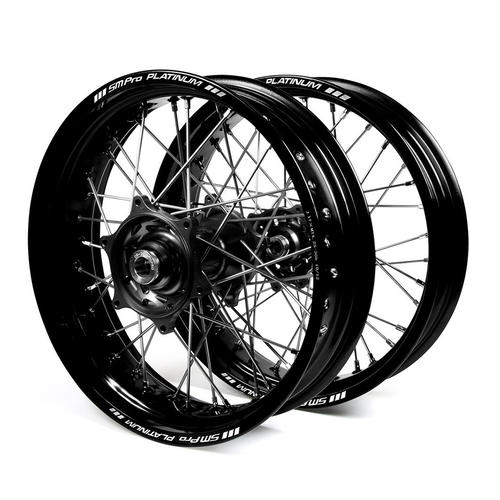 YAMAHA WR450F 2003 - 2018 SUPERMOTARD WHEEL SET BLACK PLATINUM RIMS / BLACK TALON HUBS 17x3.50 / 17x4.25