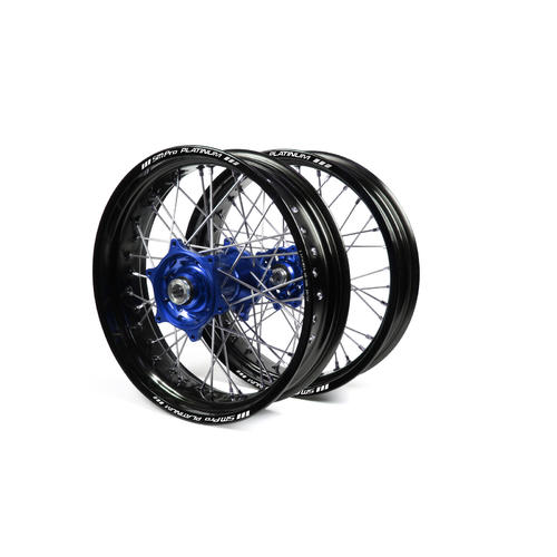 HUSABERG TE250 2003 - 2014 SUPERMOTARD WHEEL SET BLACK PLATINUM RIMS / BLUE TALON HUBS 17x3.50 / 17x4.25