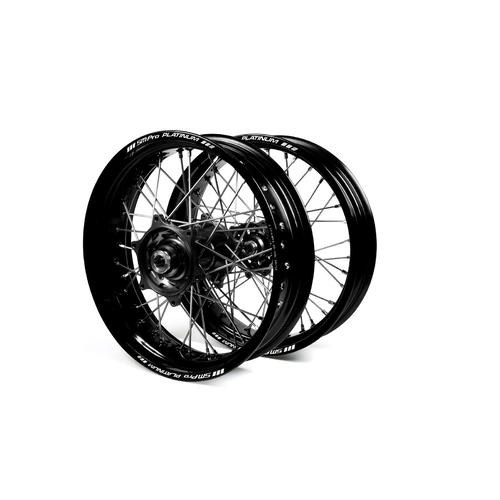 HUSABERG TE250 2003 - 2014 SUPERMOTARD WHEEL SET BLACK PLATINUM RIMS / BLACK TALON HUBS 17x3.50 / 17x4.25