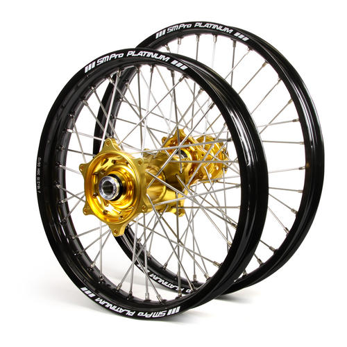 GAS GAS EC250 2000 - 2019 WHEEL SET BLACK / PLATINUM SNR MX RIMS TALON GOLD GAS HUBS 21 / 18x2.15