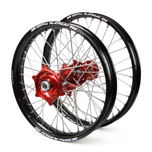GAS GAS EC250 2000 - 2019 WHEEL SET BLACK / PLATINUM SNR MX RIMS TALON RED GAS HUBS 21 / 18x2.15