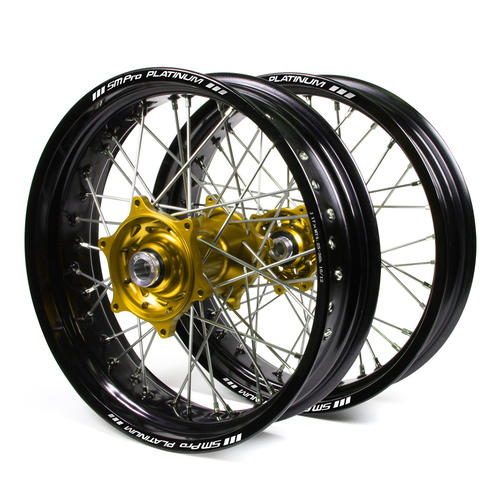 KAWASAKI KLX450 2007 - 2018 SUPERMOTARD WHEEL SET BLACK PLATINUM RIMS / GOLD TALON HUBS 17x3.50 / 17x4.25