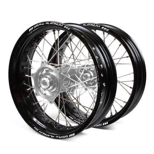 KAWASAKI KLX450 2007 - 2018 SUPERMOTARD WHEEL SET BLACK PLATINUM RIMS / SILVER TALON HUBS 17x3.50 / 17x4.25