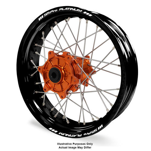 KTM 1090 2013 - 2016 ADVENTURE REAR WHEEL BLACK PLATINUM RIMS / ORANGE TALON HUBS 17x5.00
