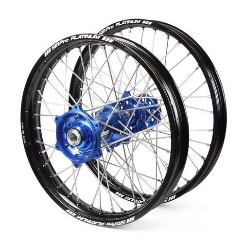 KTM 50 SX 2014 - 2019 WHEEL SET BLACK PLATINUM JNR MX RIMS / BLUE TALON HUBS 12x1.6 / 10x1.6