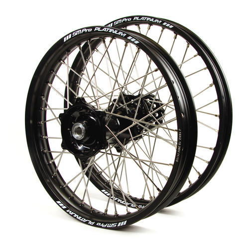 HUSQVARNA FX350 2016 - 2019 WHEEL SET BLACK PLATINUM SNR MX RIMS / BLACK TALON HUBS 21 / 18x2.15