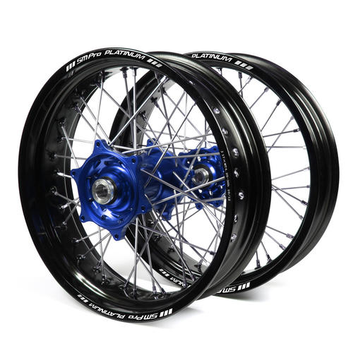 HUSQVARNA TC250 2016 - 2019 SUPERMOTARD WHEEL SET BLACK PLATINUM RIMS / BLUE TALON HUBS 17x3.50 / 17x4.25