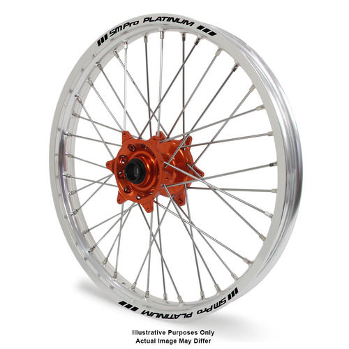 KTM 1190 2013 - 2016 ADVENTURE FRONT WHEEL SILVER PLATINUM RIMS ORANGE TALON HUBS 17x3.5